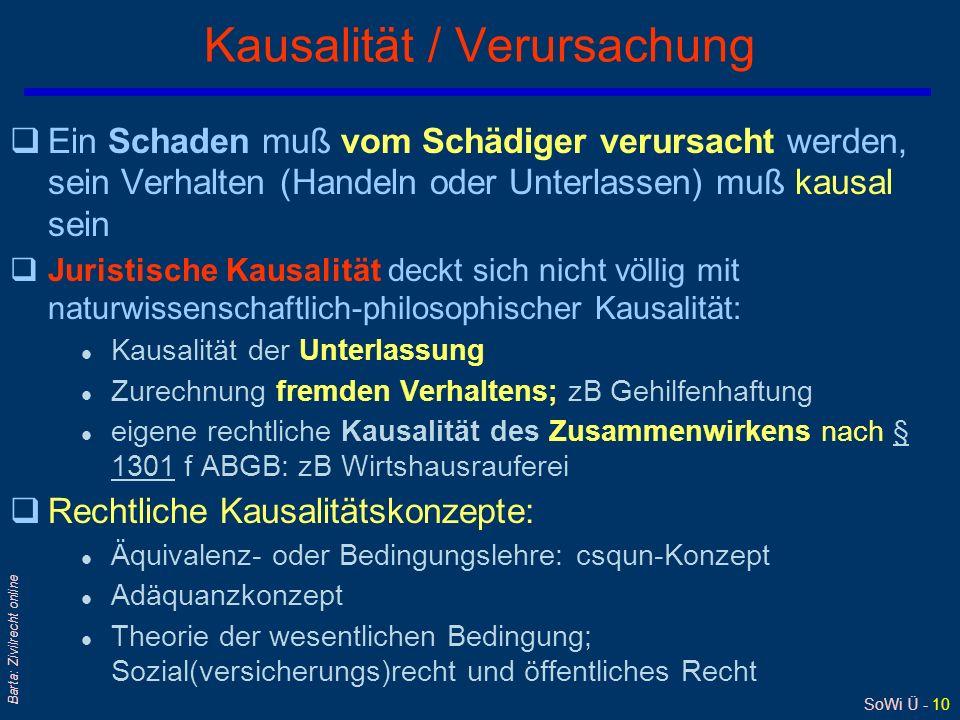 SoWi Ü - 10 Barta: Zivilrecht online Kausalität / Verursachung qEin Schaden muß vom Schädiger verursacht werden, sein Verhalten (Handeln oder Unterlas