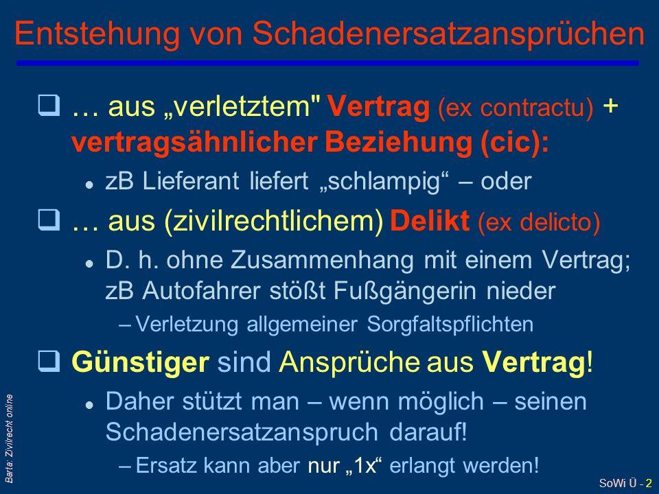 SoWi Ü - 2 Barta: Zivilrecht online Entstehung von Schadenersatzansprüchen q… aus verletztem