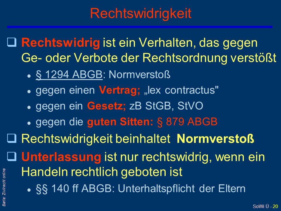 SoWi Ü - 20 Barta: Zivilrecht online Rechtswidrigkeit qRechtswidrig ist ein Verhalten, das gegen Ge- oder Verbote der Rechtsordnung verstößt l § 1294