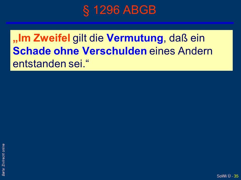 SoWi Ü - 35 Barta: Zivilrecht online § 1296 ABGB Im Zweifel gilt die Vermutung, daß ein Schade ohne Verschulden eines Andern entstanden sei.
