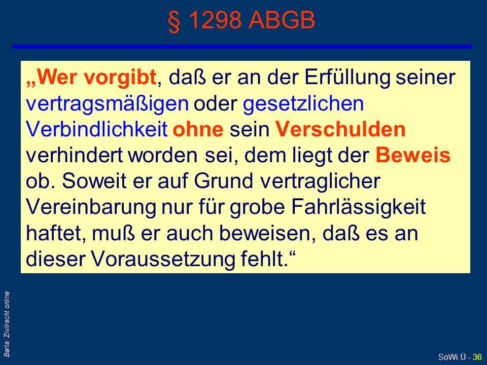 SoWi Ü - 36 Barta: Zivilrecht online § 1298 ABGB Wer vorgibt, daß er an der Erfüllung seiner vertragsmäßigen oder gesetzlichen Verbindlichkeit ohne se