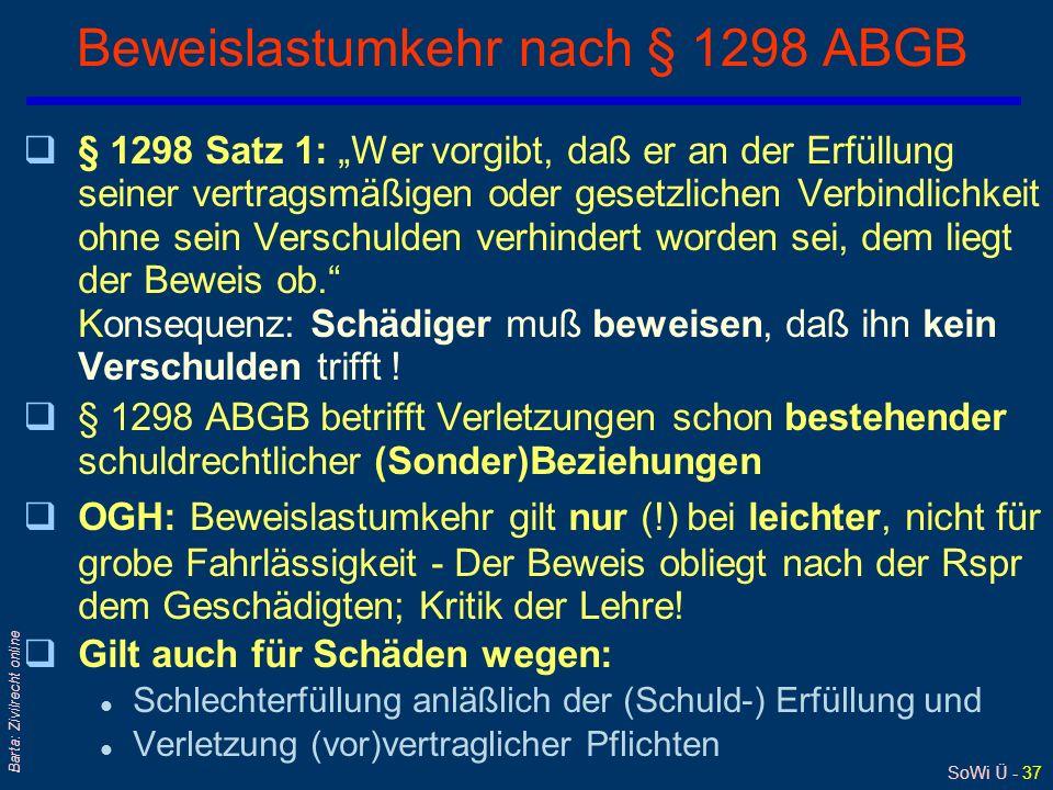 SoWi Ü - 37 Barta: Zivilrecht online Beweislastumkehr nach § 1298 ABGB q§ 1298 Satz 1: Wer vorgibt, daß er an der Erfüllung seiner vertragsmäßigen ode