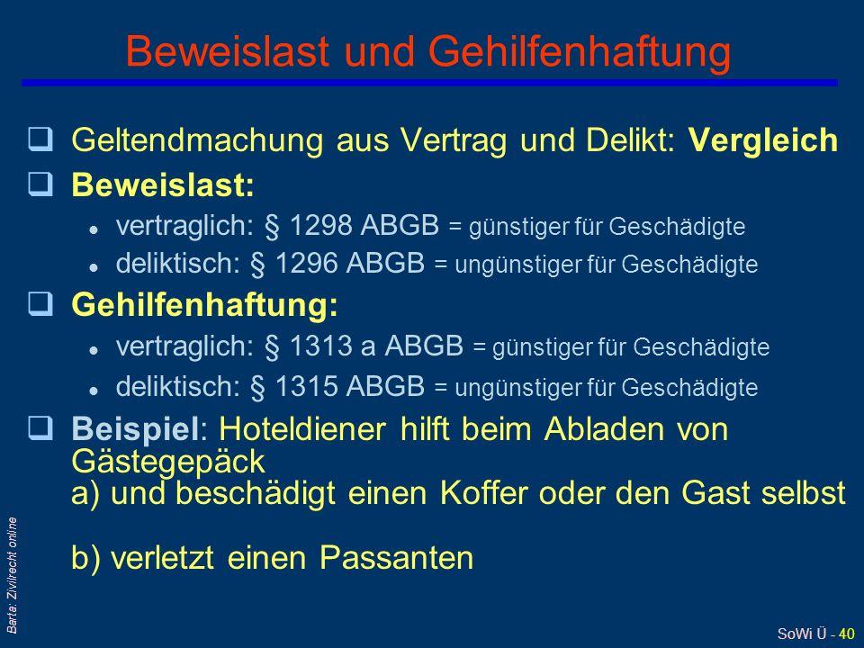 SoWi Ü - 40 Barta: Zivilrecht online Beweislast und Gehilfenhaftung qGeltendmachung aus Vertrag und Delikt: Vergleich qBeweislast: l vertraglich: § 12