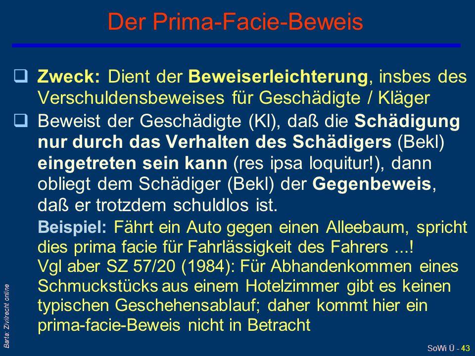 SoWi Ü - 43 Barta: Zivilrecht online Der Prima-Facie-Beweis qZweck:Dient der Beweiserleichterung, insbes des Verschuldensbeweises für Geschädigte / Kl