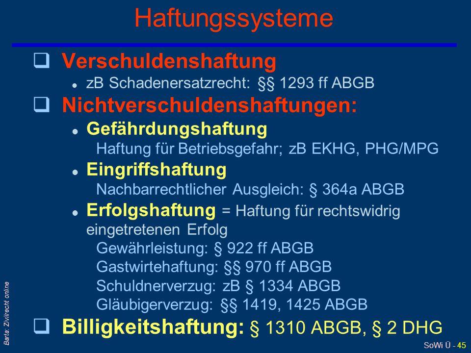 SoWi Ü - 45 Barta: Zivilrecht online Haftungssysteme qVerschuldenshaftung l zB Schadenersatzrecht: §§ 1293 ff ABGB qNichtverschuldenshaftungen: l Gefä