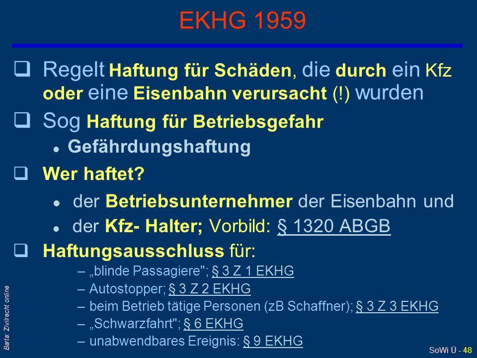 SoWi Ü - 48 Barta: Zivilrecht online EKHG 1959 qRegelt Haftung für Schäden, die durch ein Kfz oder eine Eisenbahn verursacht (!) wurden qSog Haftung f