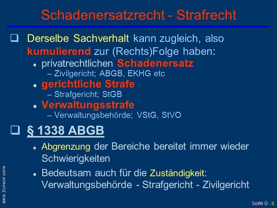 SoWi Ü - 5 Barta: Zivilrecht online Schadenersatzrecht - Strafrecht qDerselbe Sachverhalt kann zugleich, also kumulierend zur (Rechts)Folge haben: l p