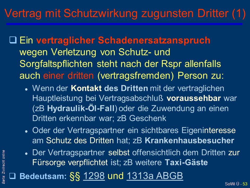 SoWi Ü - 53 Barta: Zivilrecht online Vertrag mit Schutzwirkung zugunsten Dritter (1) qEin vertraglicher Schadenersatzanspruch wegen Verletzung von Sch