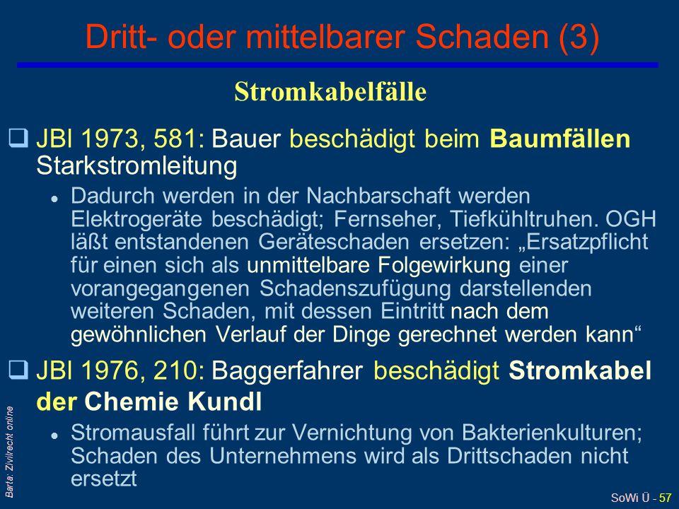 SoWi Ü - 57 Barta: Zivilrecht online Dritt- oder mittelbarer Schaden (3) qJBl 1973, 581: Bauer beschädigt beim Baumfällen Starkstromleitung l Dadurch