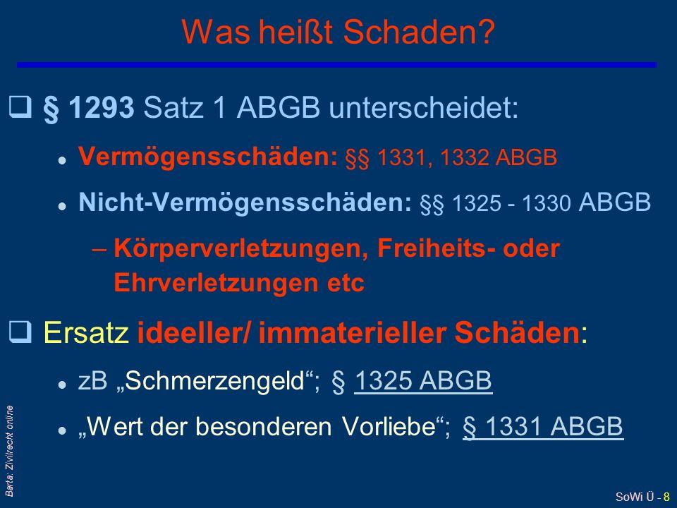 SoWi Ü - 8 Barta: Zivilrecht online Was heißt Schaden? q§ 1293 Satz 1 ABGB unterscheidet: l Vermögensschäden: §§ 1331, 1332 ABGB l Nicht-Vermögensschä