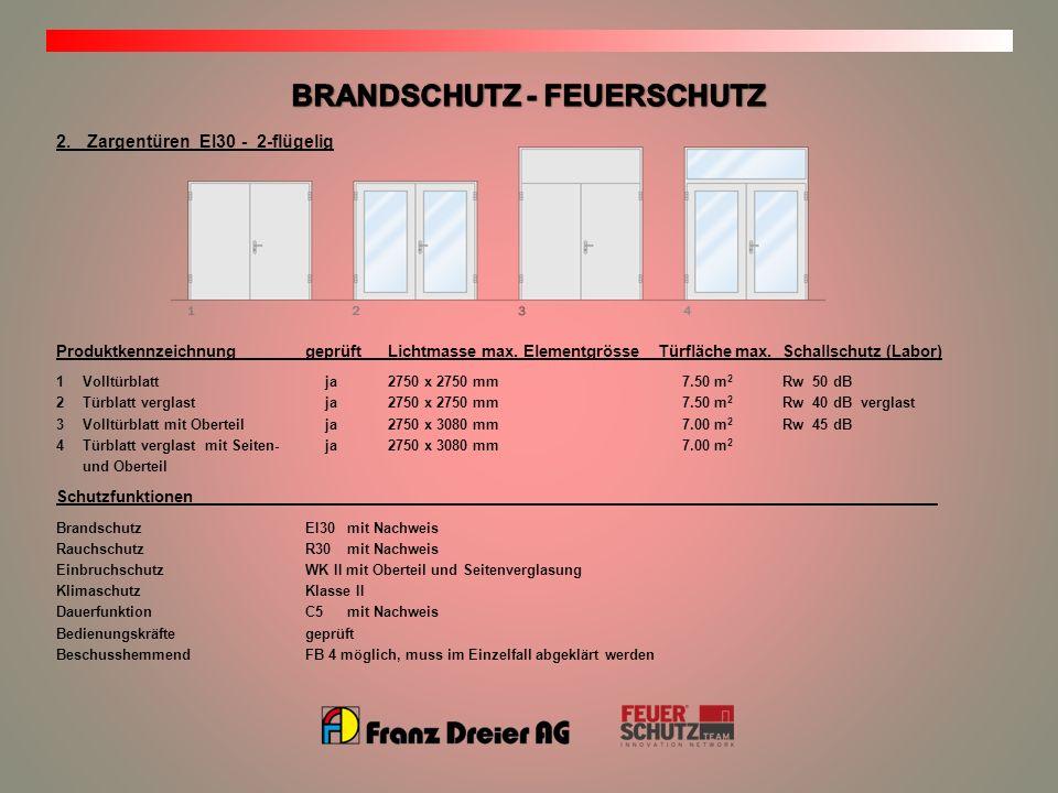2.Zargentüren EI30 - 2-flügelig ProduktkennzeichnunggeprüftLichtmasse max.ElementgrösseTürfläche max. Schallschutz (Labor) 1Volltürblatt ja2750 x 2750