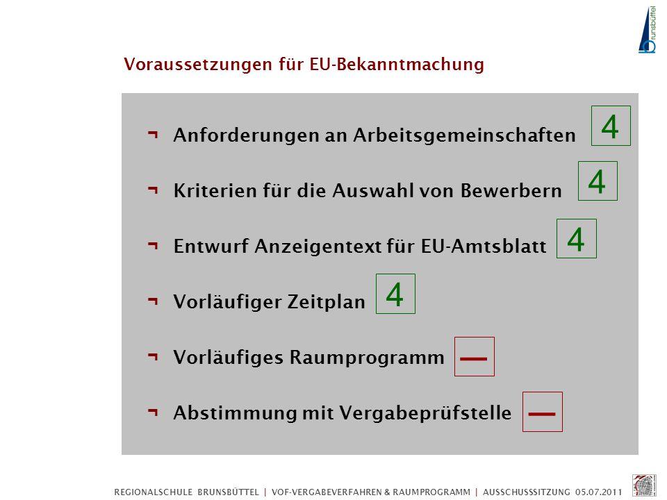 Voraussetzungen für EU-Bekanntmachung ¬ Anforderungen an Arbeitsgemeinschaften ¬ Kriterien für die Auswahl von Bewerbern ¬ Entwurf Anzeigentext für EU