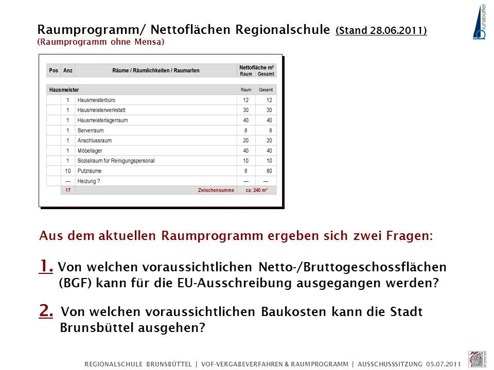 REGIONALSCHULE BRUNSBÜTTEL | VOF-VERGABEVERFAHREN & RAUMPROGRAMM | AUSSCHUSSSITZUNG 05.07.2011 1. Von welchen voraussichtlichen Netto-/Bruttogeschossf