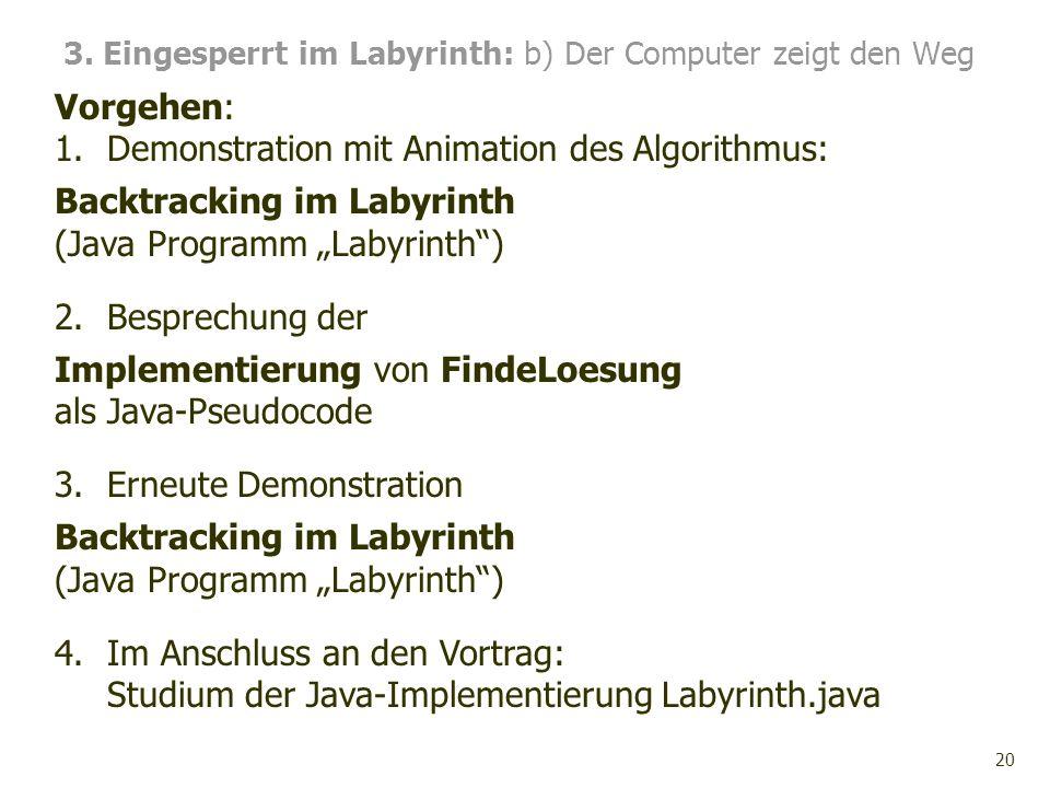20 Vorgehen: 1.Demonstration mit Animation des Algorithmus: Backtracking im Labyrinth (Java Programm Labyrinth) 2.Besprechung der Implementierung von