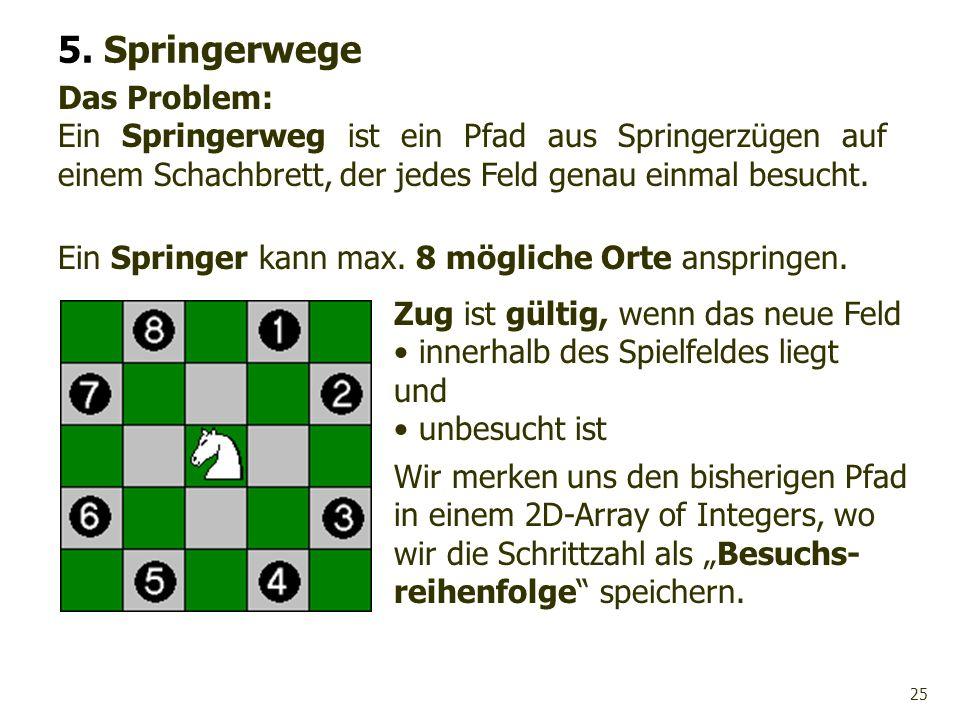 25 Das Problem: Ein Springerweg ist ein Pfad aus Springerzügen auf einem Schachbrett, der jedes Feld genau einmal besucht. 5. Springerwege Zug ist gül