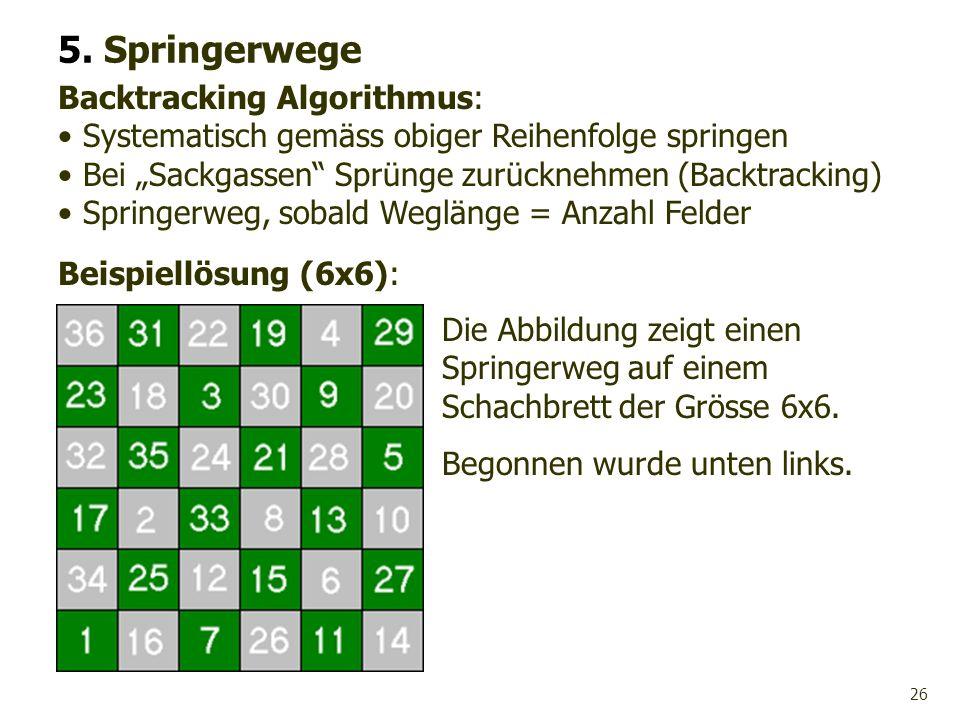 26 Beispiellösung (6x6): 5. Springerwege Die Abbildung zeigt einen Springerweg auf einem Schachbrett der Grösse 6x6. Begonnen wurde unten links. Backt