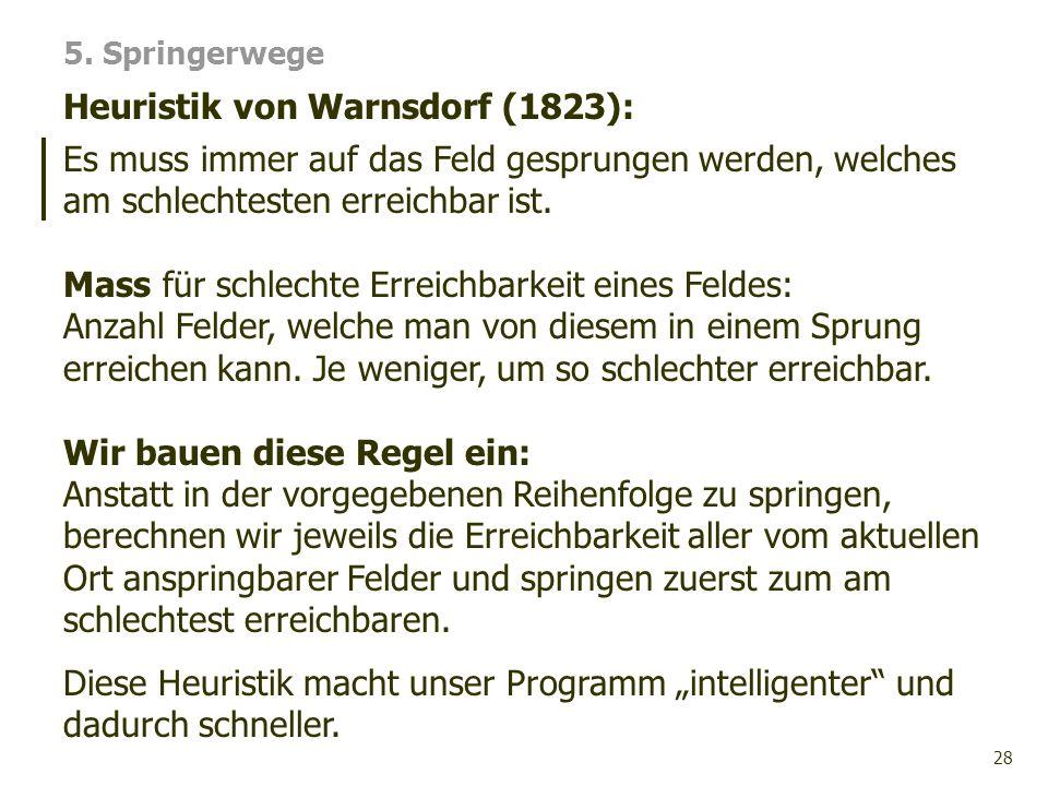 28 Heuristik von Warnsdorf (1823): 5. Springerwege Es muss immer auf das Feld gesprungen werden, welches am schlechtesten erreichbar ist. Mass für sch