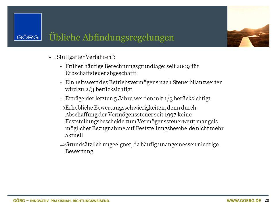 20 Übliche Abfindungsregelungen Stuttgarter Verfahren: -Früher häufige Berechnungsgrundlage; seit 2009 für Erbschaftsteuer abgeschafft -Einheitswert d