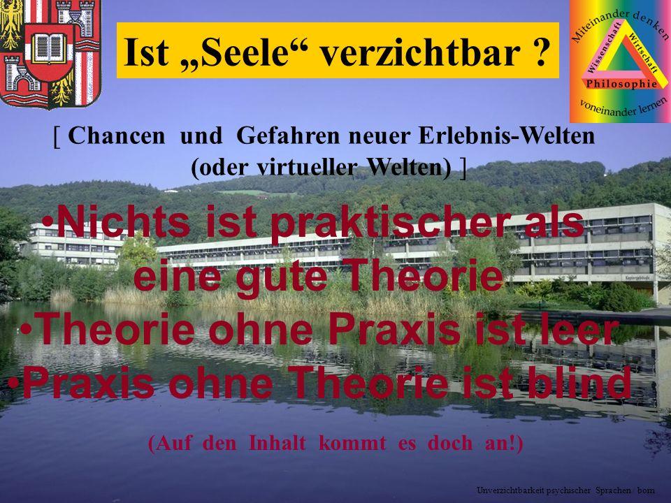 14-02-25 r.born1 Ist Seele verzichtbar ? (Auf den Inhalt kommt es doch an!) Nichts ist praktischer als eine gute Theorie Theorie ohne Praxis ist leer