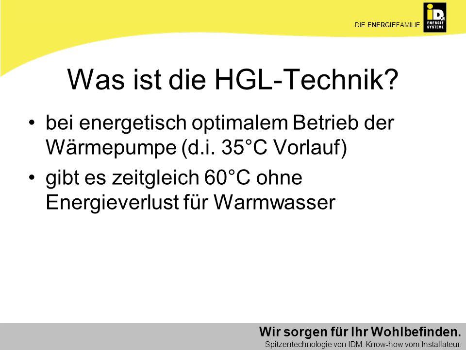 Wir sorgen für Ihr Wohlbefinden. Spitzentechnologie von IDM. Know-how vom Installateur. DIE ENERGIEFAMILIE Was ist die HGL-Technik? bei energetisch op