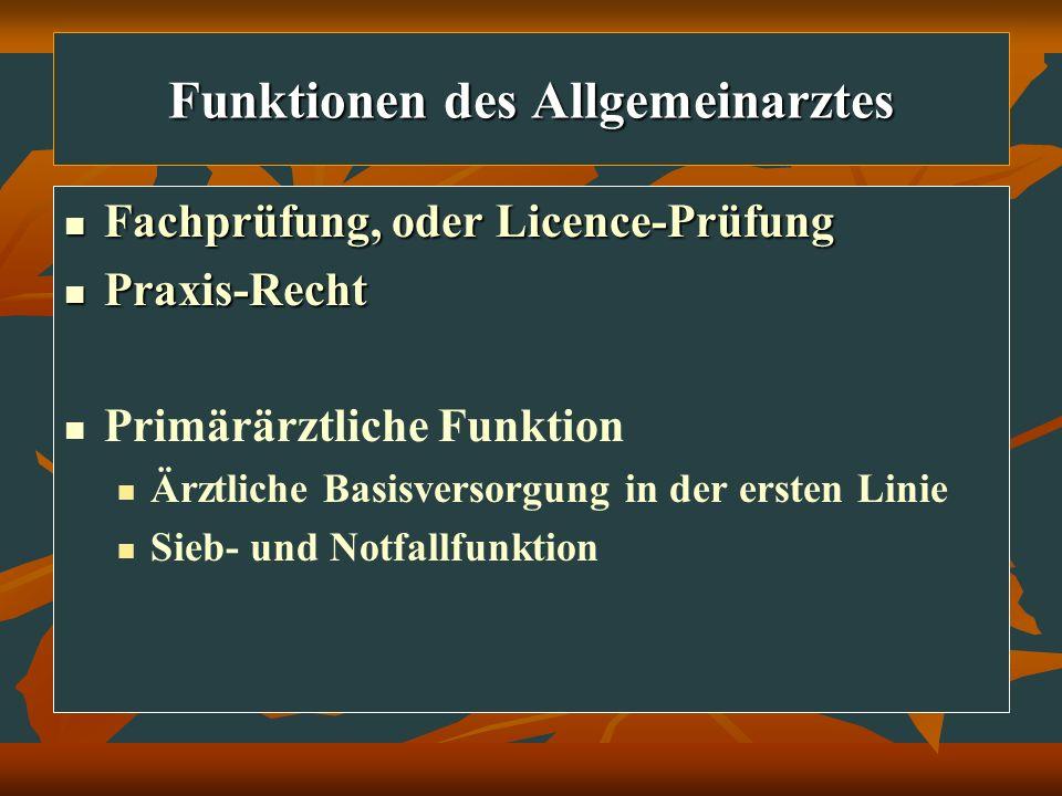 Funktionen des Allgemeinarztes Fachprüfung, oder Licence-Prüfung Fachprüfung, oder Licence-Prüfung Praxis-Recht Praxis-Recht Primärärztliche Funktion