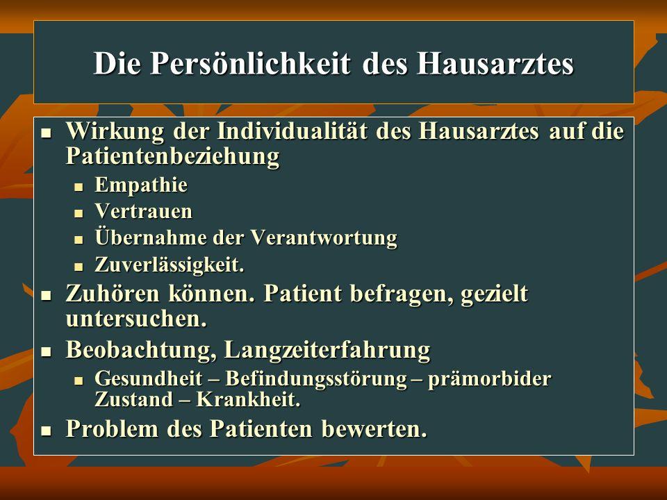 Die Persönlichkeit des Hausarztes Wirkung der Individualität des Hausarztes auf die Patientenbeziehung Wirkung der Individualität des Hausarztes auf d
