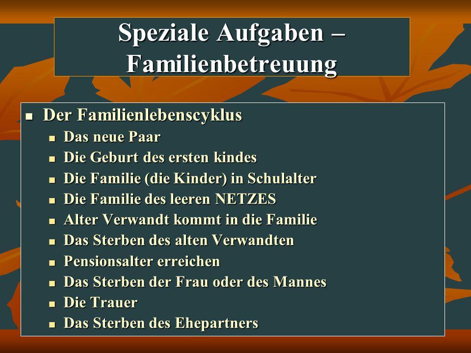 Speziale Aufgaben – Familienbetreuung Der Familienlebenscyklus Der Familienlebenscyklus Das neue Paar Das neue Paar Die Geburt des ersten kindes Die G