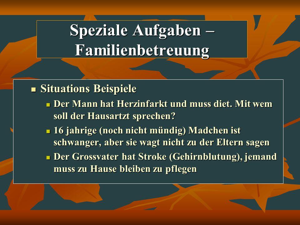 Speziale Aufgaben – Familienbetreuung Situations Beispiele Situations Beispiele Der Mann hat Herzinfarkt und muss diet. Mit wem soll der Hausartzt spr