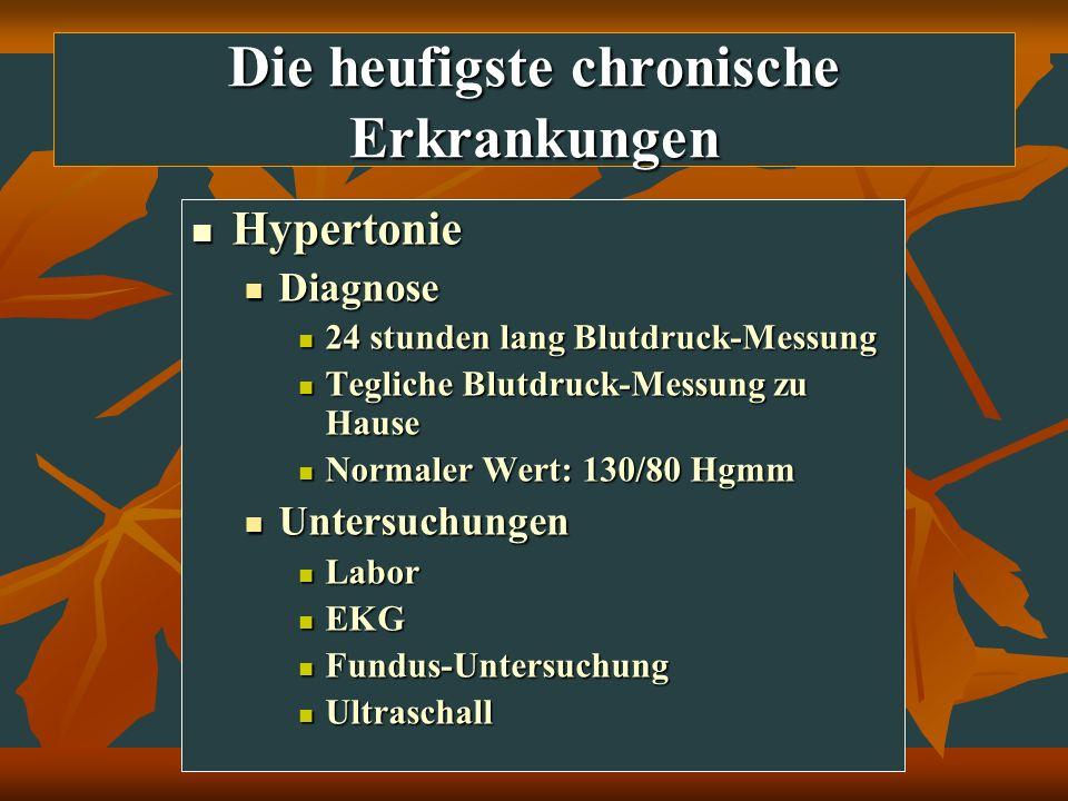 Die heufigste chronische Erkrankungen Hypertonie Hypertonie Diagnose Diagnose 24 stunden lang Blutdruck-Messung 24 stunden lang Blutdruck-Messung Tegl