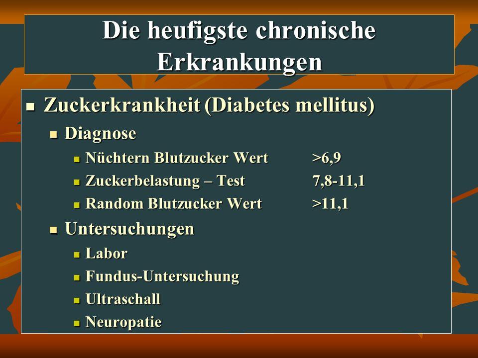 Die heufigste chronische Erkrankungen Zuckerkrankheit (Diabetes mellitus) Zuckerkrankheit (Diabetes mellitus) Diagnose Diagnose Nüchtern Blutzucker We