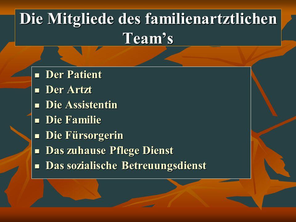 Die Mitgliede des familienartztlichen Teams Der Patient Der Patient Der Artzt Der Artzt Die Assistentin Die Assistentin Die Familie Die Familie Die Fü