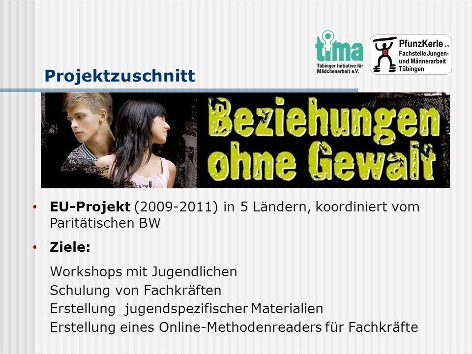 Projektzuschnitt EU-Projekt (2009-2011) in 5 Ländern, koordiniert vom Paritätischen BW Ziele: Workshops mit Jugendlichen Schulung von Fachkräften Erst