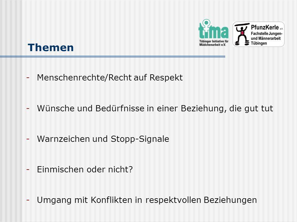 Themen -Menschenrechte/Recht auf Respekt -Wünsche und Bedürfnisse in einer Beziehung, die gut tut -Warnzeichen und Stopp-Signale -Einmischen oder nich
