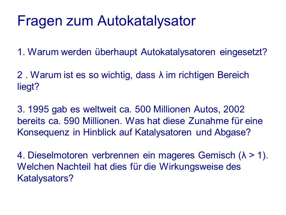 Fragen zum Autokatalysator 1.Warum werden überhaupt Autokatalysatoren eingesetzt.