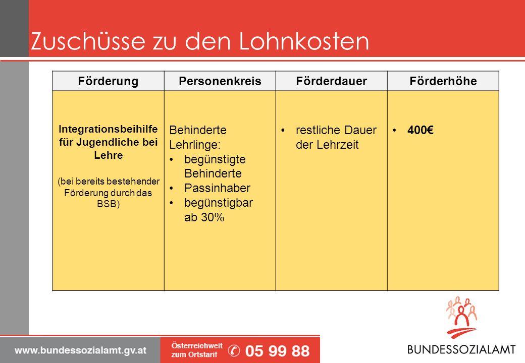 Zuschüsse zu den Lohnkosten FörderungPersonenkreisFörderdauerFörderhöhe Entgeltbeihilfe Nur für Begünstigte Behinderte 1 Jahr bei Erst- bewilligung (jeweils) 2 Jahre bei Folgebewilligung 500 max.