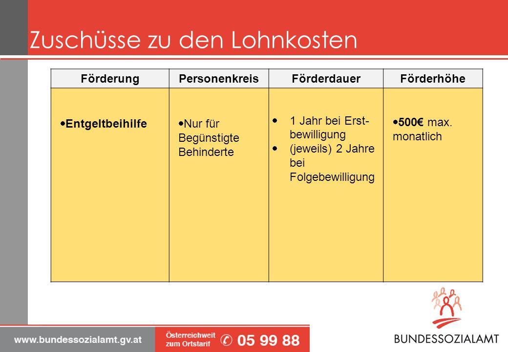 Zuschüsse zu den Lohnkosten FörderungPersonenkreisFörderdauerFörderhöhe Entgeltbeihilfe Nur für Begünstigte Behinderte 1 Jahr bei Erst- bewilligung (j