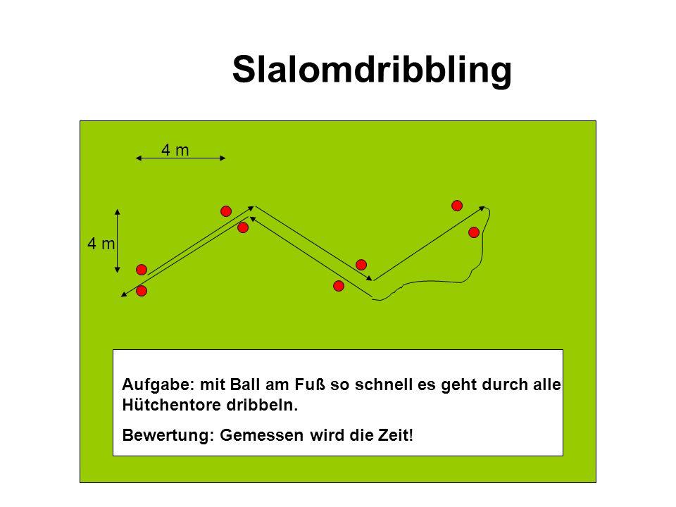 Slalomdribbling 4 m Aufgabe: Mit dem Ball am Fuß so schnell wie möglich durch den Hütchenparcours dribbeln und wieder zurück zur Startlinie.