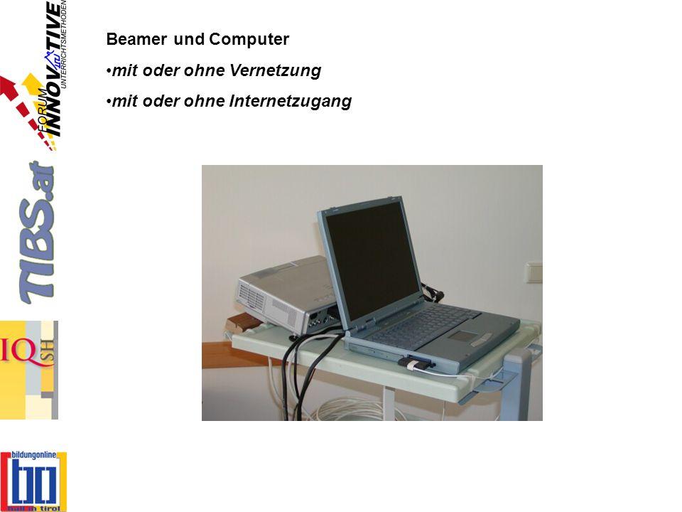 Beamer und Computer mit oder ohne Vernetzung mit oder ohne Internetzugang