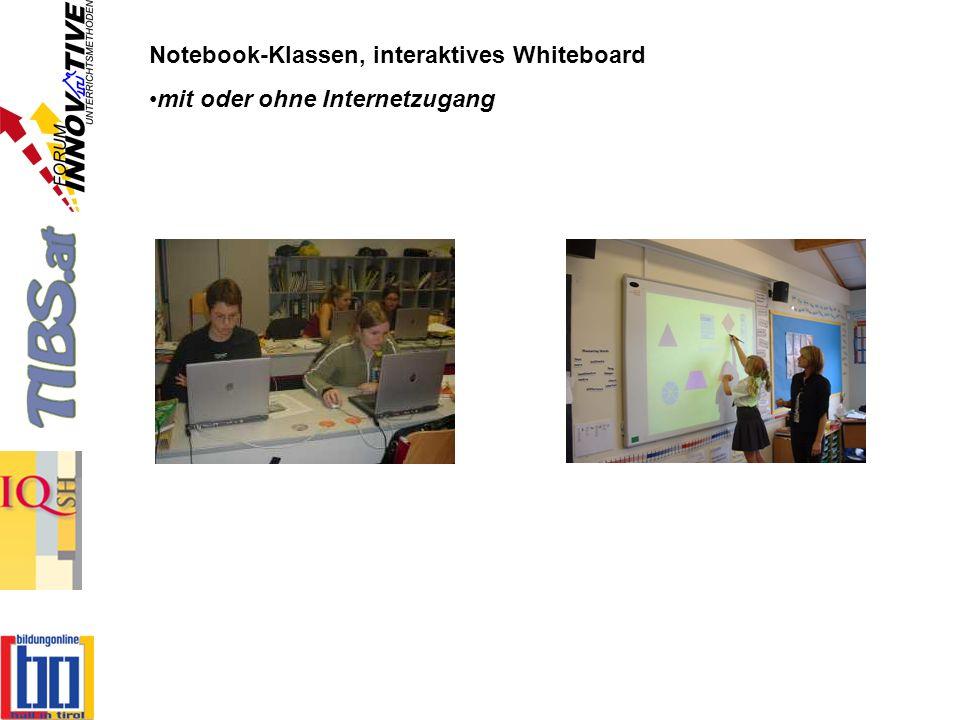 Notebook-Klassen, interaktives Whiteboard mit oder ohne Internetzugang