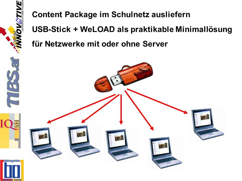 Content Package im Schulnetz ausliefern USB-Stick + WeLOAD als praktikable Minimallösung für Netzwerke mit oder ohne Server