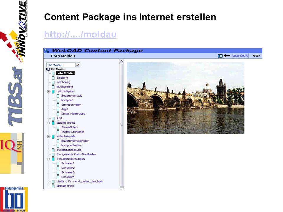 Content Package ins Internet erstellen http://..../moldau