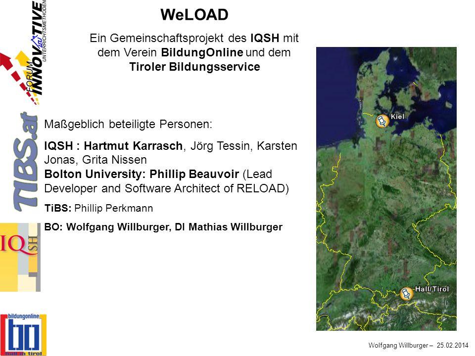 Wolfgang Willburger – 25.02.2014 WeLOAD Ein Gemeinschaftsprojekt des IQSH mit dem Verein BildungOnline und dem Tiroler Bildungsservice Maßgeblich bete