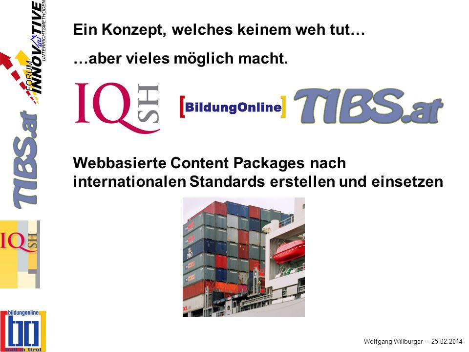 Wolfgang Willburger – 25.02.2014 Ein Konzept, welches keinem weh tut… …aber vieles möglich macht. Webbasierte Content Packages nach internationalen St