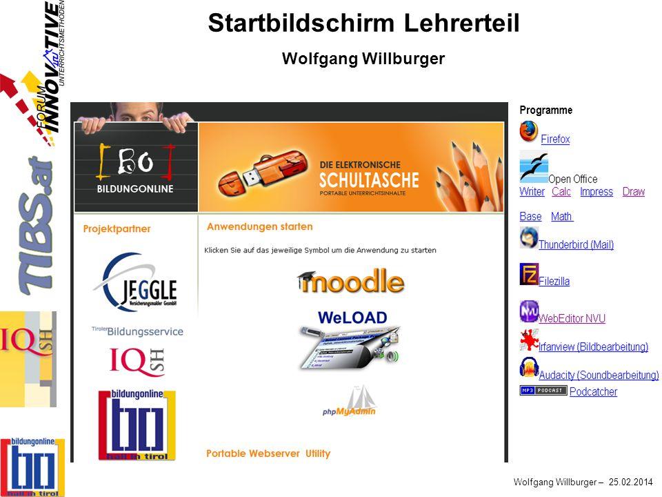 Startbildschirm Lehrerteil Wolfgang Willburger