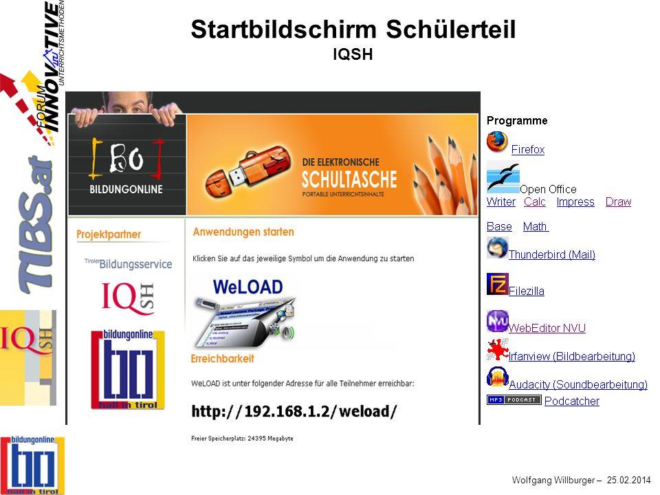 Wolfgang Willburger – 25.02.2014 Startbildschirm Schülerteil IQSH