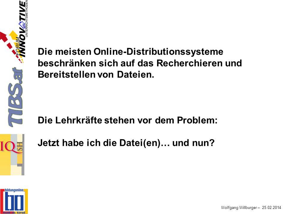 Wolfgang Willburger – 25.02.2014 Die meisten Online-Distributionssysteme beschränken sich auf das Recherchieren und Bereitstellen von Dateien. Die Leh