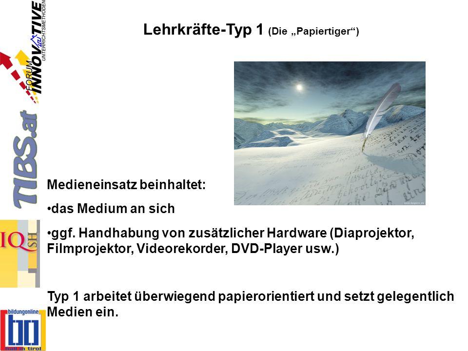 Lehrkräfte-Typ 2 (Die Dateisammler) Digitaler Medieneinsatz beinhaltet: den Umgang mit digitalen Dateien ggf.
