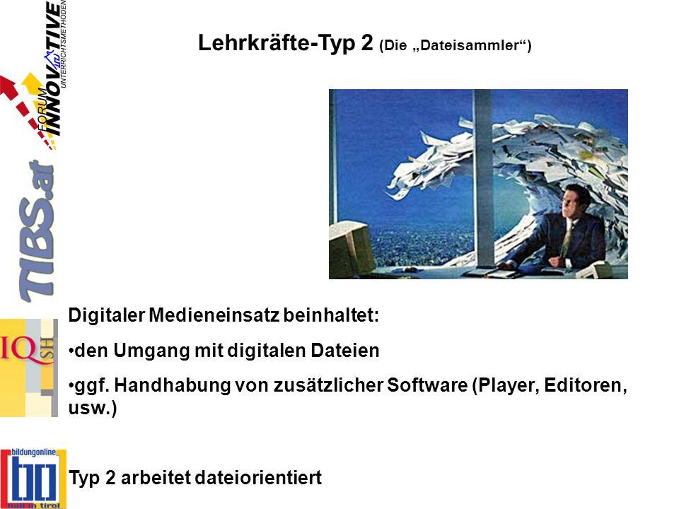 Lehrkräfte-Typ 2 (Die Dateisammler) Digitaler Medieneinsatz beinhaltet: den Umgang mit digitalen Dateien ggf. Handhabung von zusätzlicher Software (Pl
