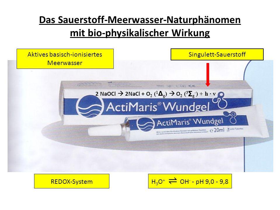 2 NaOCl 2NaCl + O 2 ( 1 g ) O 2 ( 3 g - ) + h · ν Das Sauerstoff-Meerwasser-Naturphänomen mit bio-physikalischer Wirkung Singulett-Sauerstoff REDOX-Sy