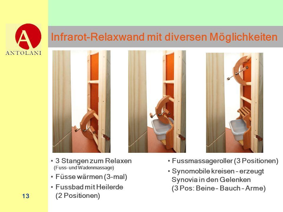 13 Infrarot-Relaxwand mit diversen Möglichkeiten Fussmassageroller (3 Positionen) Synomobile kreisen – erzeugt Synovia in den Gelenken (3 Pos: Beine –